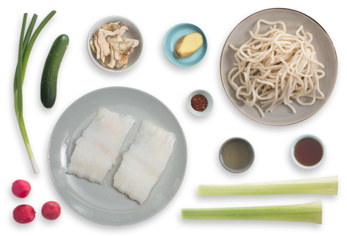 Seared Cod & Udon Noodles with Shiitake Broth & Togarashi-Spiced Cucumber ingredients