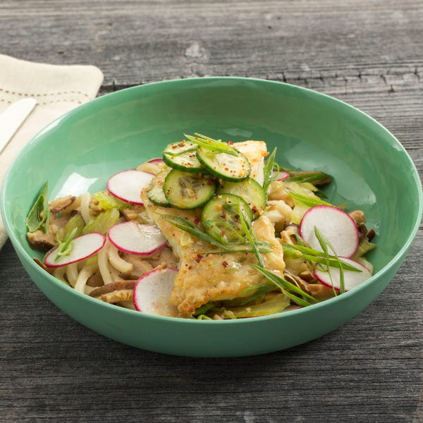 Seared Cod & Udon Noodles with Shiitake Broth & Togarashi-Spiced Cucumber