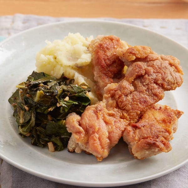 Crispy Chicken with Mashed Potato & Spicy Collard Greens