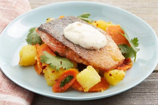 Seared Salmon with Glazed Carrots & Saffron-Yogurt Sauce