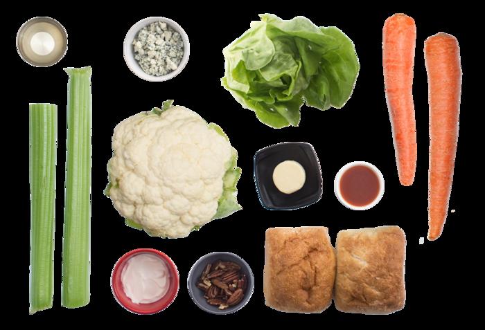 Buffalo Cauliflower Sandwiches with Butter Lettuce & Pecan Salad