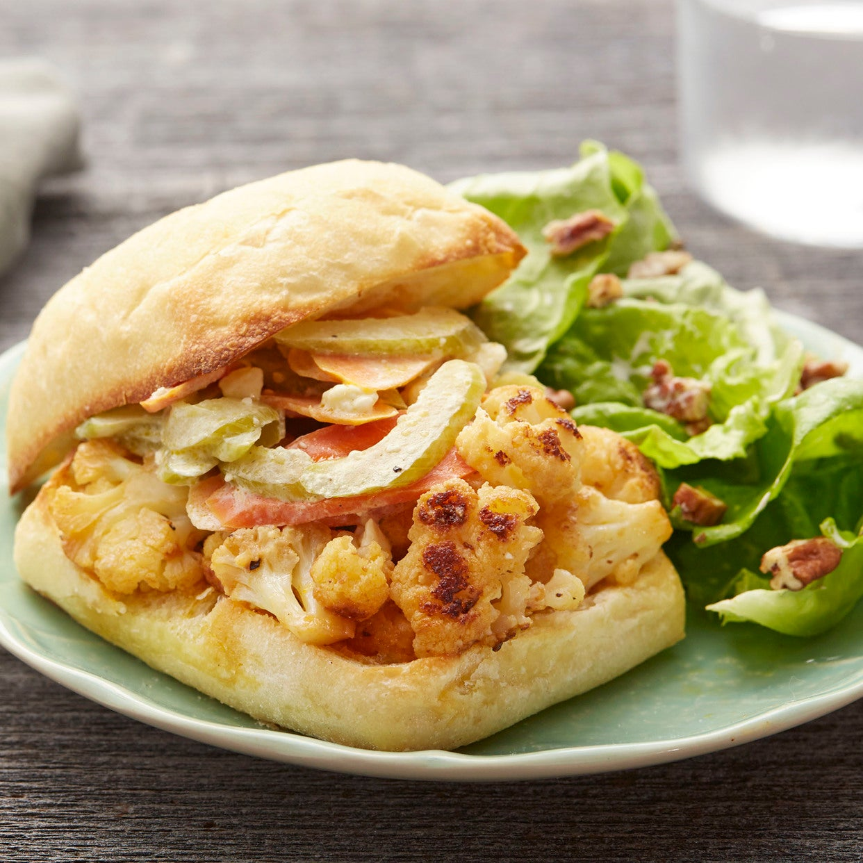 Buffalo Cauliflower Sandwiches with Butter Lettuce & Pecan Salad