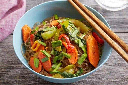 Stir-Fried Sweet Potato Noodles with Tinkerbell Peppers & Bok Choy