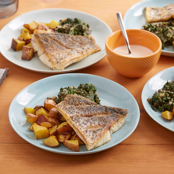 Pan-Seared Barramundi with Prince of Orange Potatoes & Spinach