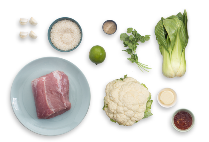 Lemongrass Roasted Pork with Braised Cauliflower & Bok Choy ingredients