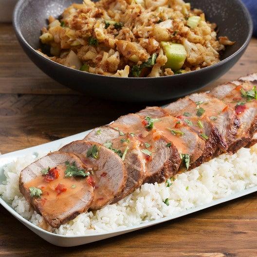 Lemongrass Roasted Pork with Braised Cauliflower & Bok Choy