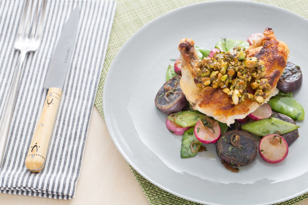 Chicken & Snow Pea-Radish Sauté with Candied Pistachios