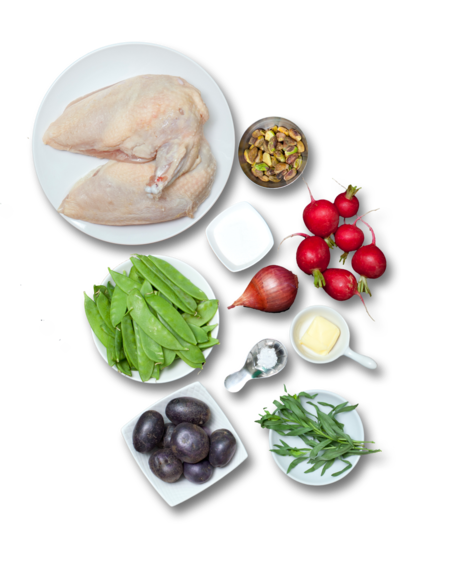 Chicken with Candied Pistachios  & Snow Pea-Radish Saute ingredients