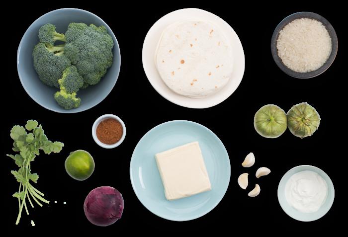 Broccoli & Cheese Enchiladas with Tomatillos & Sour Cream