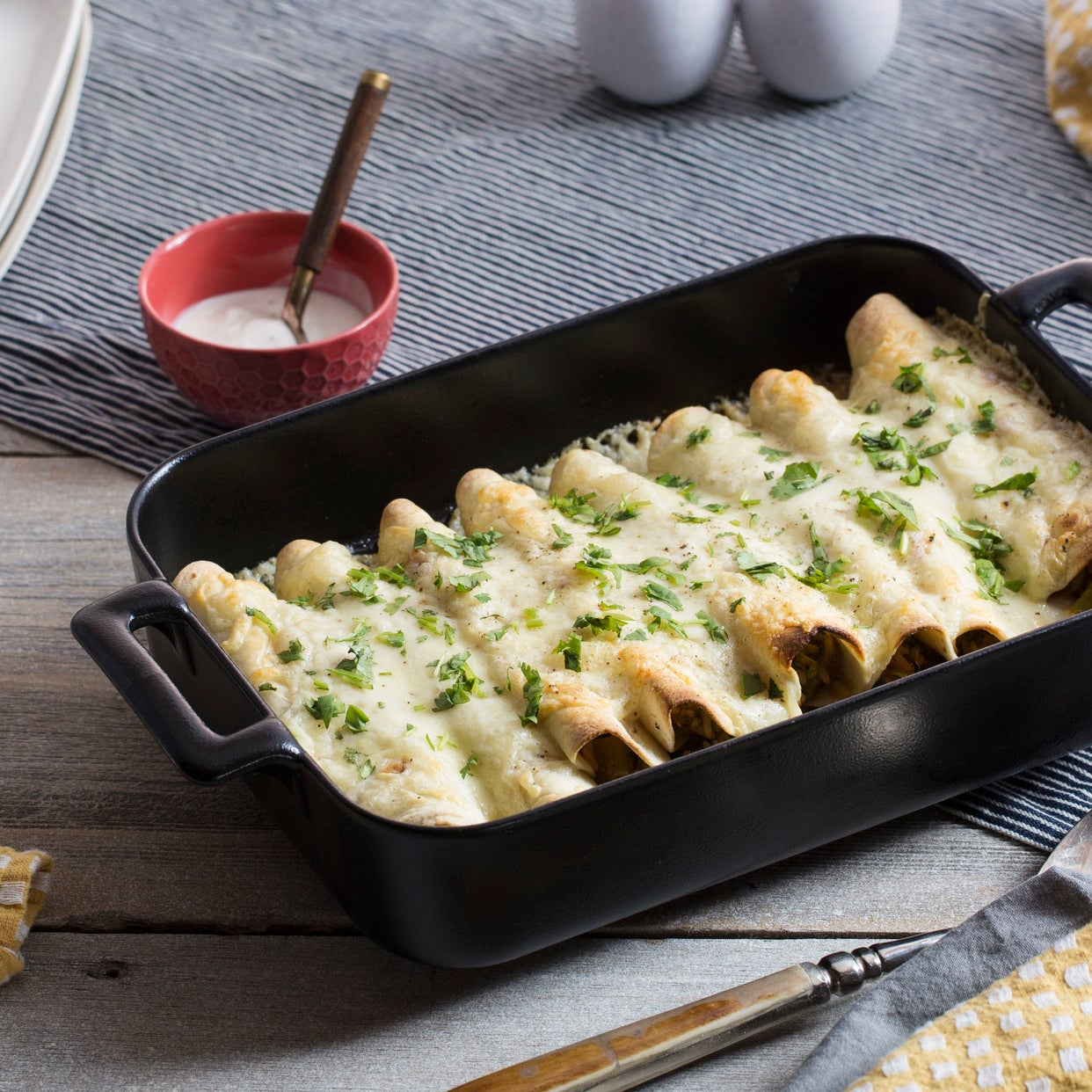 Broccoli & Cheese Enchiladas with Tomatillos & Sour Cream