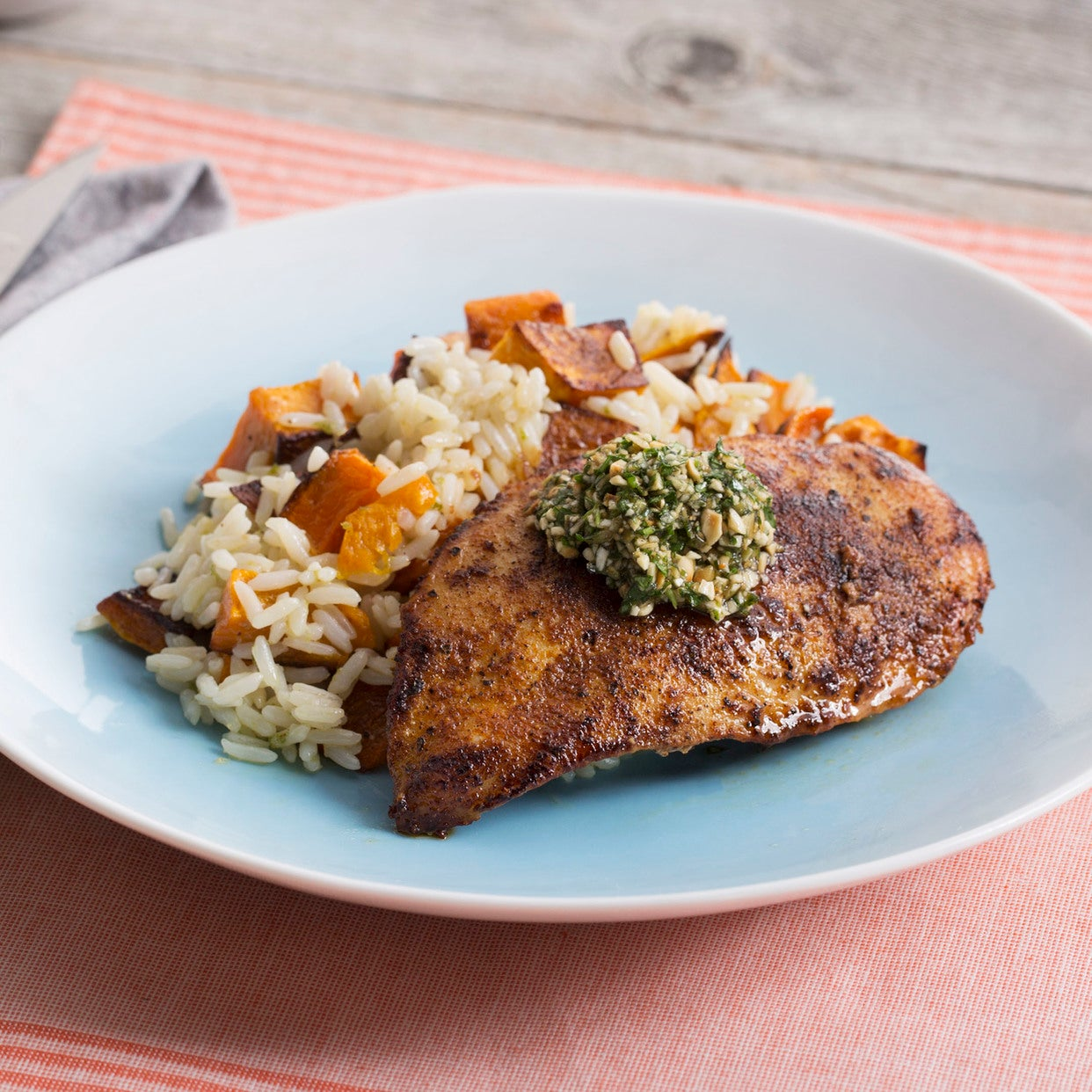 Seared Chicken with Roasted Honeynut Squash & Garlic Rice