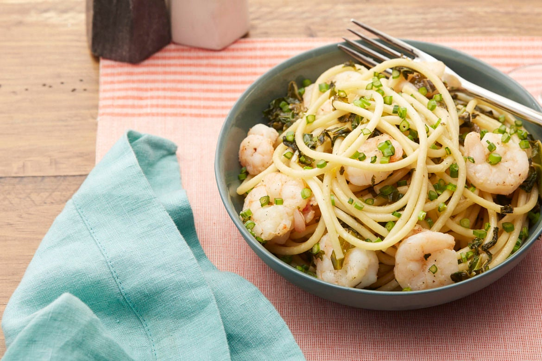 Blue apron bucatini - Spicy Shrimp Bucatini Pasta With Kale