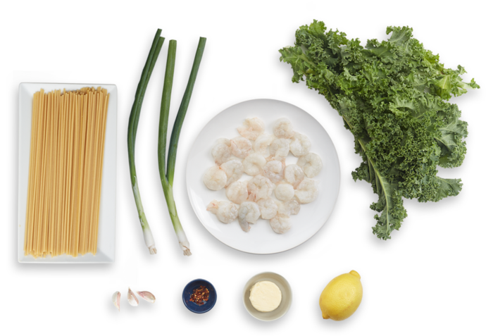 Spicy Shrimp & Bucatini Pasta with Kale