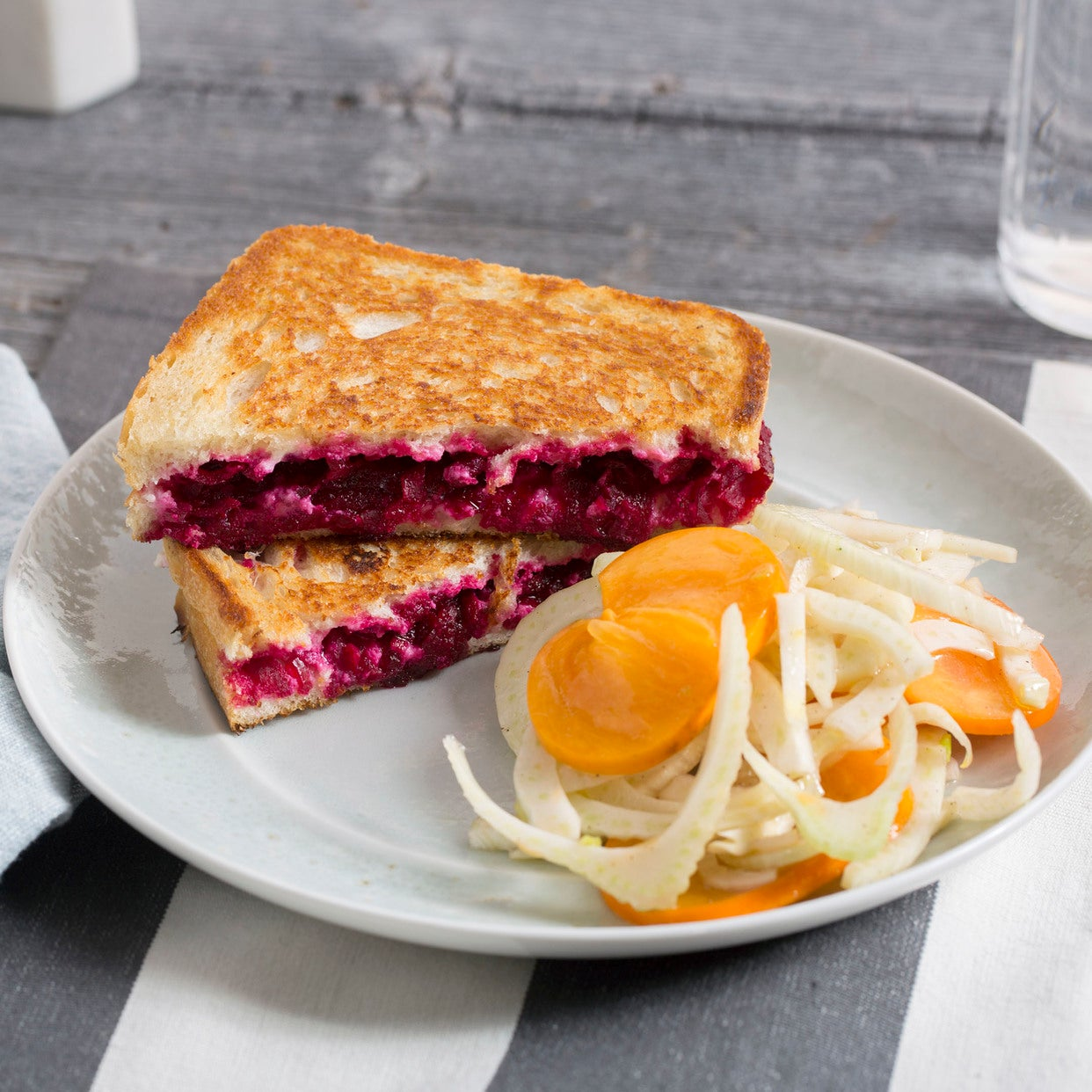 Ricotta & Beet Grilled Cheese Sandwiches with Persimmon & Marinated Fennel Salad