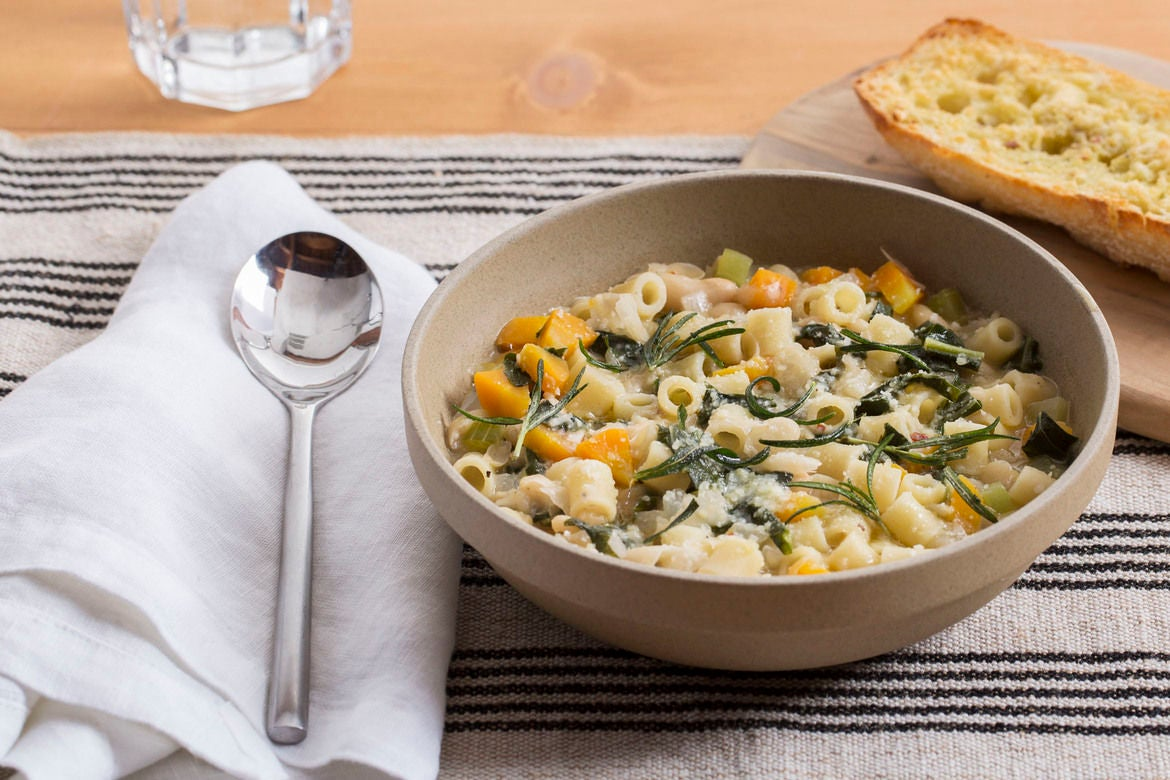 White Bean & Vegetable Soup with Atlas Carrots & Fried Rosemary
