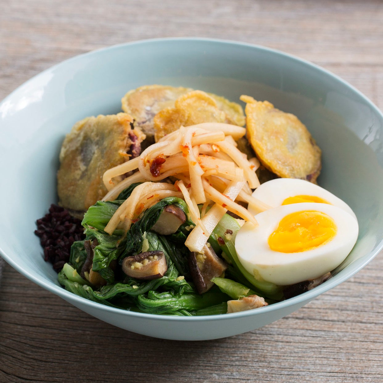 Japanese Black Rice Bowls with Sweet Potato Tempura & Soft-Boiled Eggs
