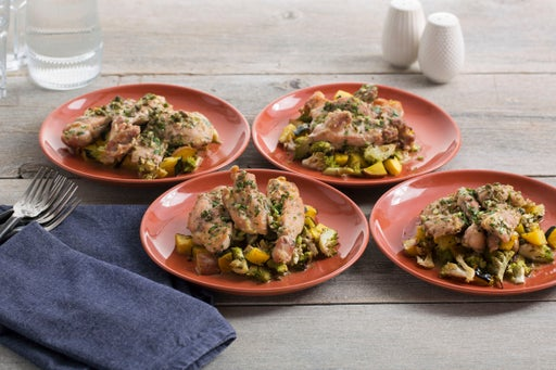 Pan-Seared Chicken with Roasted Fall Vegetables & Butter-Caper Sauce