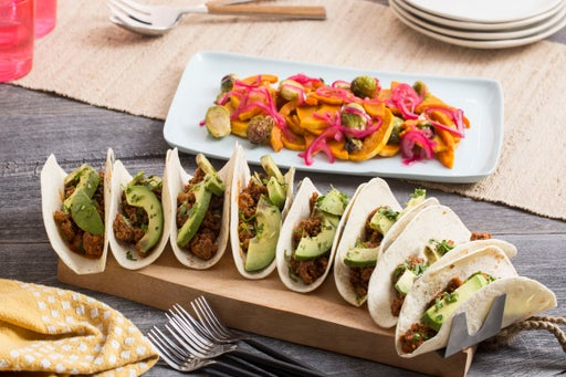 Barbacoa Lamb & Beef Tacos with Roasted Honeynut Squash & Brussels Sprouts