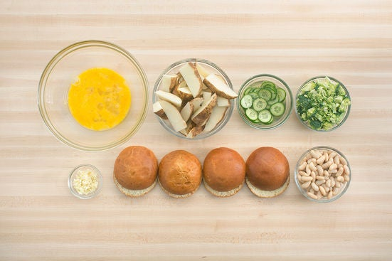 Prepare the ingredients & pickle the cucumber: