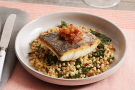 Seared Barramundi with Collard Greens, Fregola Sarda & Shallot Agrodolce