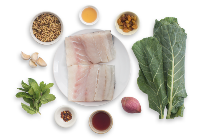 Seared Barramundi with Collard Greens, Fregola Sarda & Shallot Agrodolce ingredients