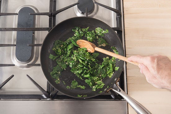 Cook the collard greens & finish the pasta: