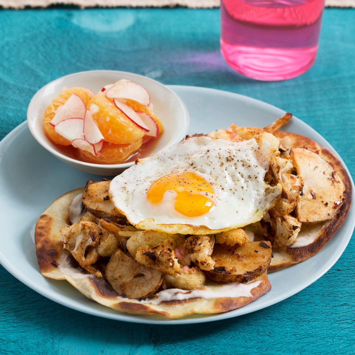 Spicy Cauliflower, Potato & Egg Tostadas with Marinated Radishes & Satsuma Mandarin