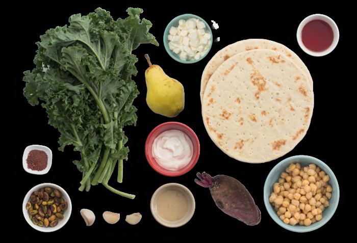 Kale & Tahini Flatbreads with Roasted Chickpeas & Beet-Pear Salad ingredients