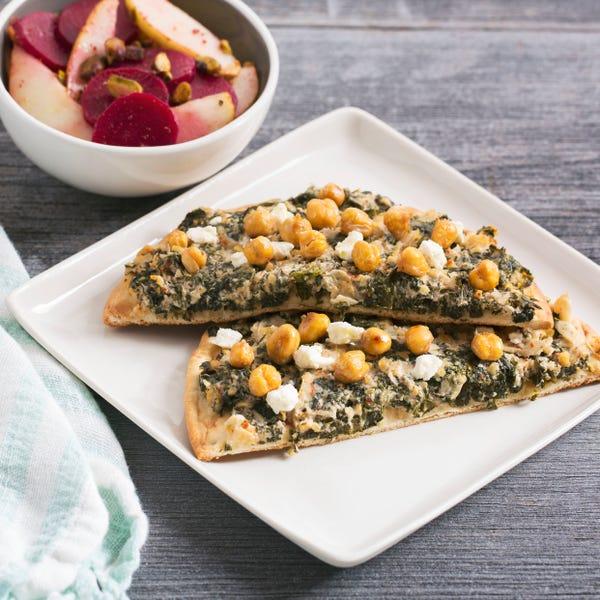 Kale & Tahini Flatbreads with Roasted Chickpeas & Beet-Pear Salad