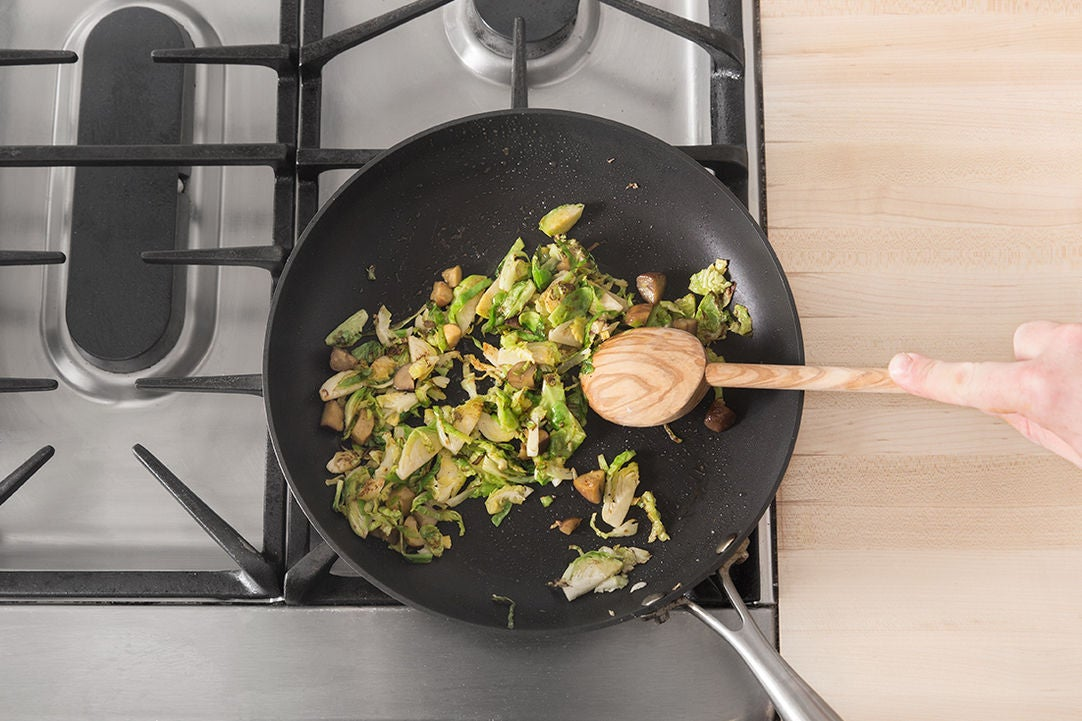 Cook the Brussels sprouts & chestnuts: