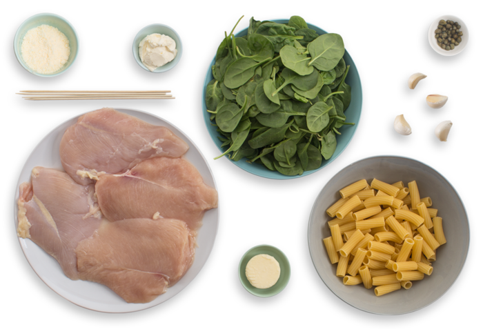 Chicken Rollatini with Spinach & Cheesy Elicoidali Pasta ingredients