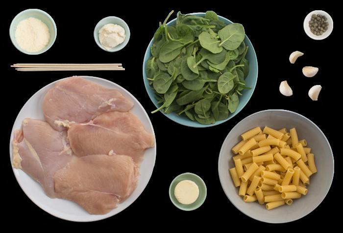 Chicken Rollatini with Spinach & Cheesy Elicoidali Pasta