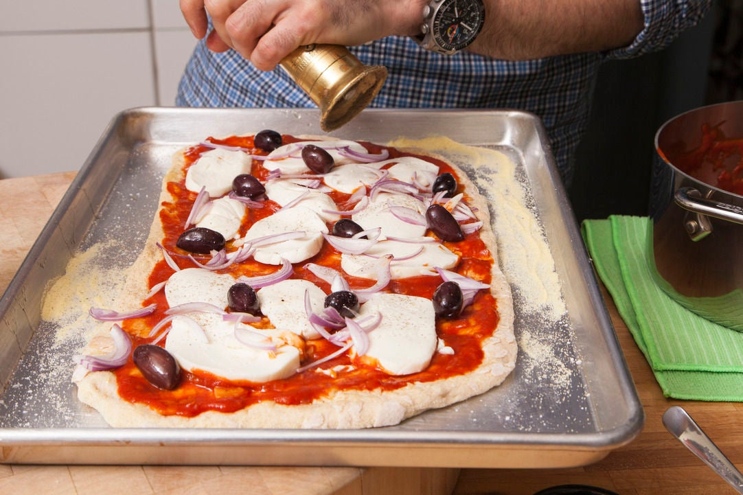 Place the toppings on the pizza & bake: