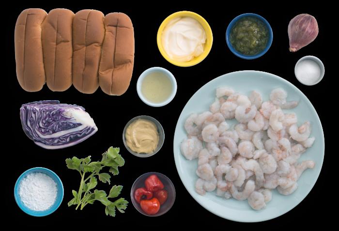 Crispy Shrimp Po' Boys with Cabbage Slaw & Rémoulade Sauce ingredients