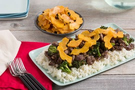 Stir-Fried Beef & Broccoli with Garlic Rice & Pickled Delicata Squash