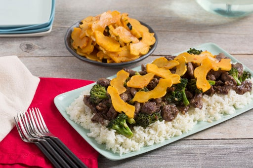 Stir-Fried Beef & Broccoli with Garlic Rice & Pickled Delicata Squash