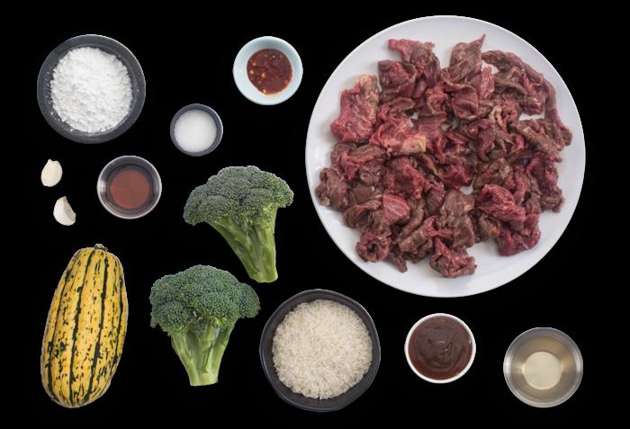 Stir-Fried Beef & Broccoli with Garlic Rice & Pickled Delicata Squash ingredients