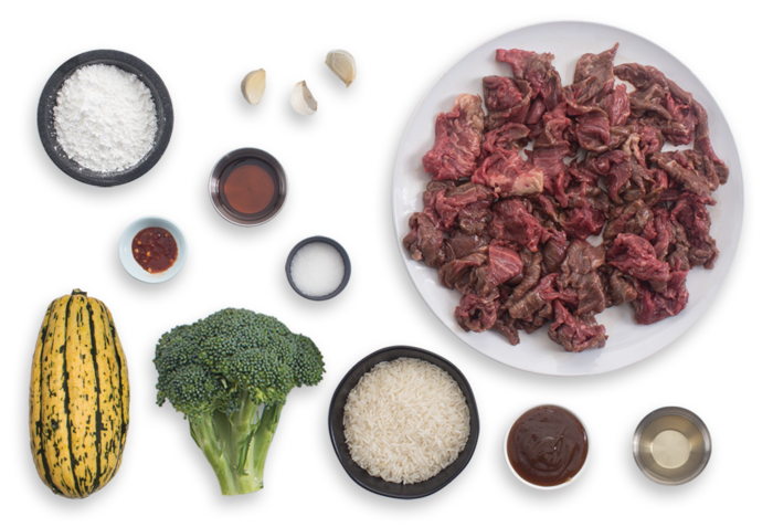 Stir-Fried Beef & Broccoli with Garlic Rice & Pickled Delicata Squash ingredients