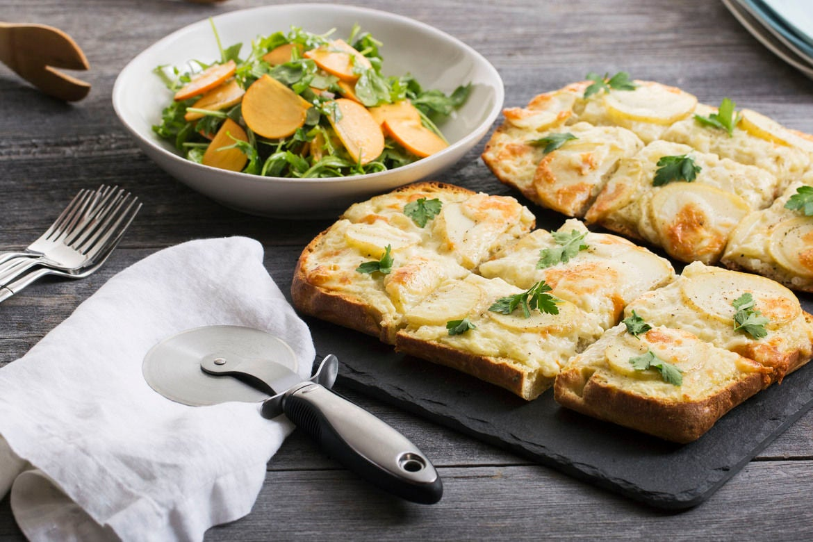 Potato & Béchamel Focaccia Pizzas with Arugula & Persimmon Salad