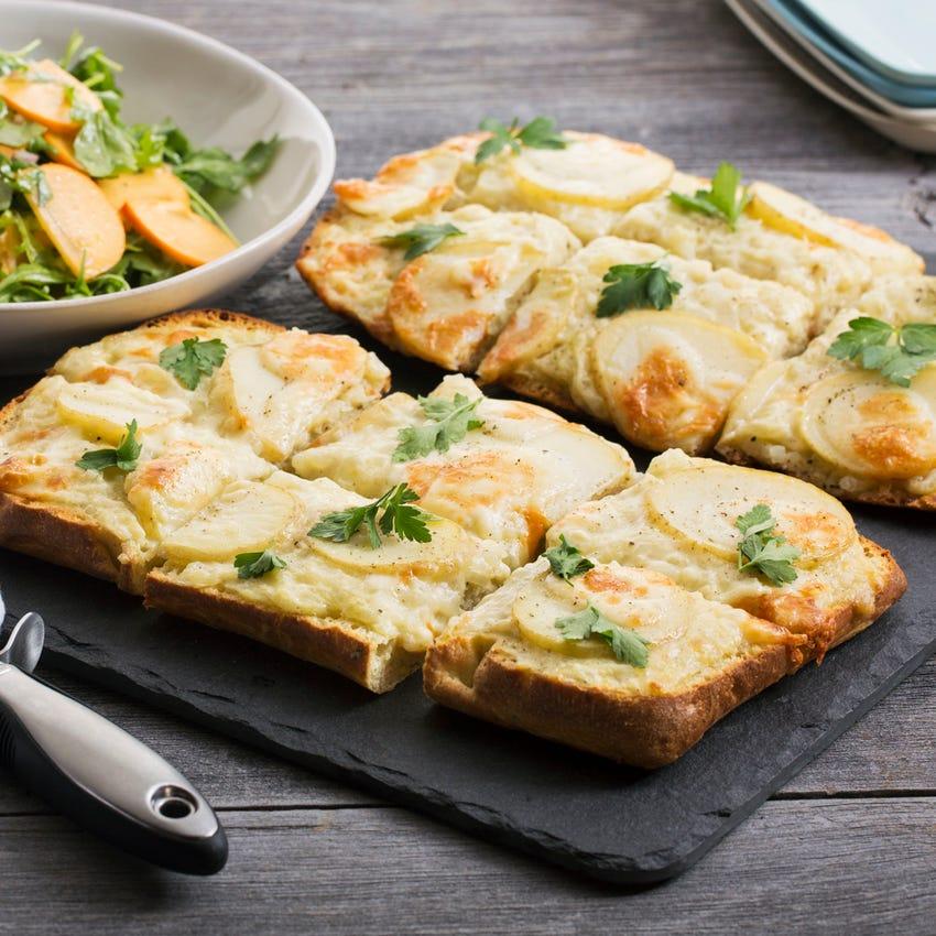 Potato & Béchamel Focaccia Pizzas with Arugula & Persimmon Salad