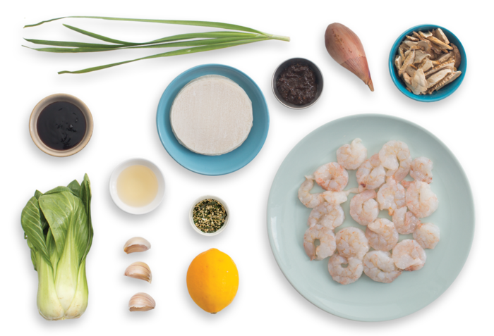 Shrimp & Shiitake Dumplings with Sautéed Bok Choy & Soy Dipping Sauce ingredients