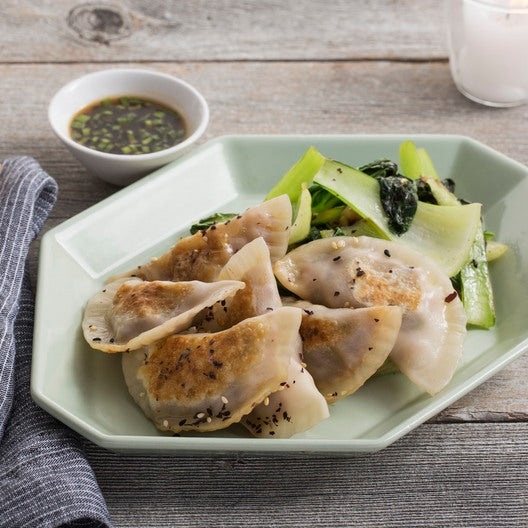 Shrimp & Shiitake Dumplings with Sautéed Bok Choy & Soy Dipping Sauce