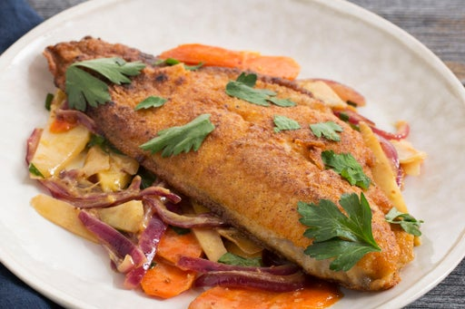 Crispy Catfish with Dressed Root Vegetables
