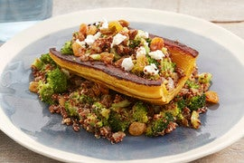 Stuffed Delicata Squash with Quinoa, Broccoli & Pickled Raisins