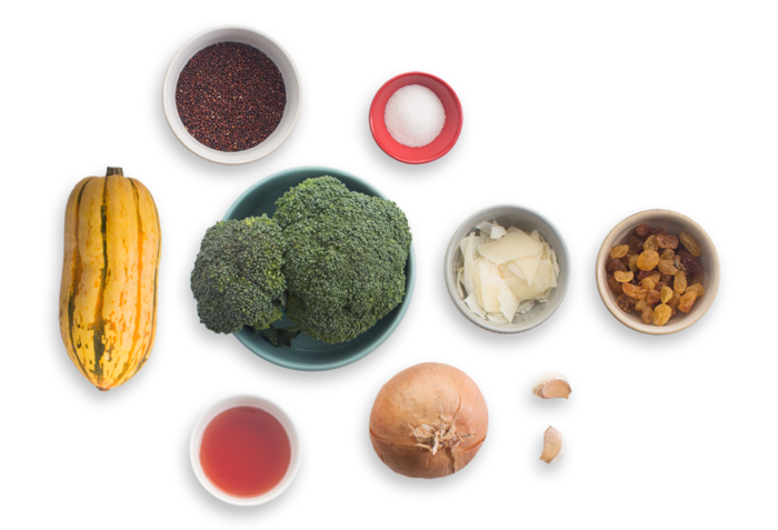 Stuffed Delicata Squash with Quinoa, Broccoli & Pickled Raisins ingredients