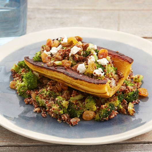 Stuffed Delicata Squash with Quinoa, Broccoli & Pickled Raisins