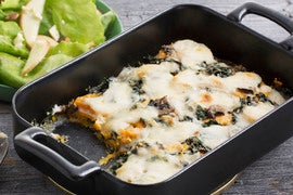 Sweet Potato, Kale & Mushroom Gratin with Apple & Butter Lettuce Salad
