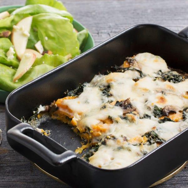 Sweet Potato, Kale & Mushroom Gratin with Apple & Butter Lettuce Salad