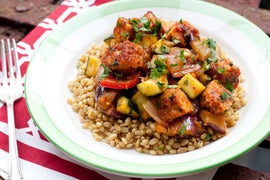 Tempeh Ratatouille on Wheat Berries