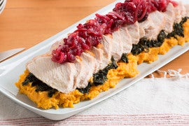 Roasted Turkey with Mashed Sweet Potatoes, Kale & Cranberry Sauce